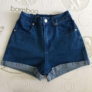 Size 6 Stretchy High Waisted Blue Cuffed Mom Shorts
