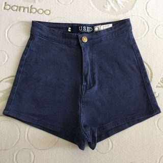 Size 10 Stretchy Grey Blue High Waisted Shorts