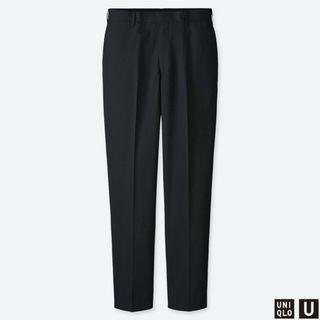UNIQLO U | 男裝 寬版泡泡紗長褲 ( 黑色 )