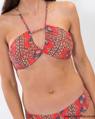 Patterned Halter neck Bikini Top