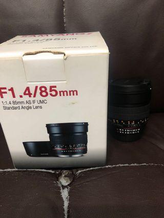 新淨 全套有盒 Samyang 85mm F1.4 UMC Nikon
