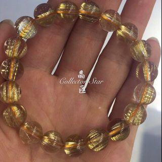 高質金髮晶手鍊10mm