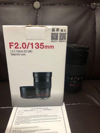 極新淨 全套有盒行貨 Samyang 135mm F2 UMC Canon
