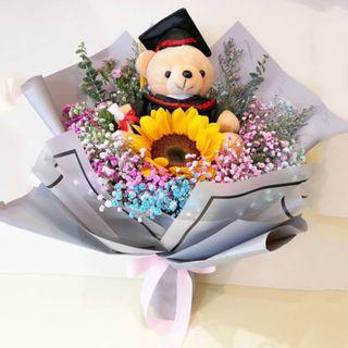 🚚 Baby Sunshine Graduation Bear Bouquet (Fresh Flower) | Graduation | $20 OFF ADVANCE ORDER