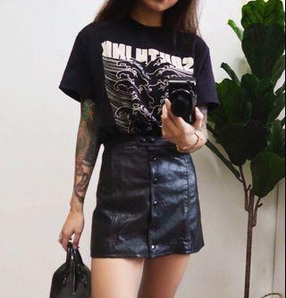 H&M faux leather button skirt
