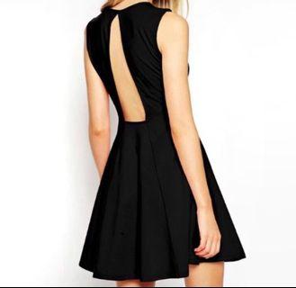 🚚 ASOS black skater dress open back