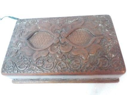 古董 首飾箱(不知年代。不知什麼木)-