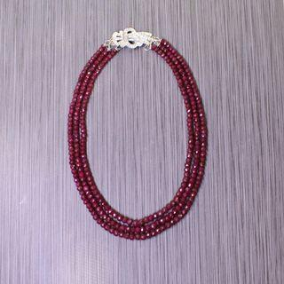 Red Ruby Triple Strand Necklace with Vintage Clasp.
