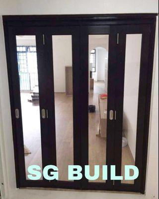 Aluminium Glass door with frame size 3x7ft