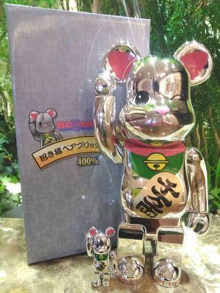 Pre-Order預訂MEDICOM TOY BE@RBRICK - 招き猫 銀メッキ 四 100% & 400%