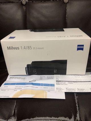 極新淨 行貨全套有盒 Milvus Z.F.2 85mm F1.4 Nikon