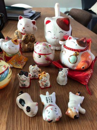 🚚 Maneki Neko 招财猫 19 pieces