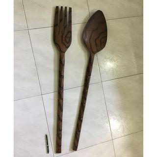 Giant wood carved spoon and fork