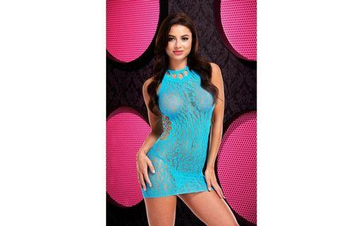 Gorgeous Blue Leopard Lace Stretch Chemise Boxed by Pink Lipstick