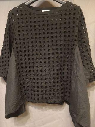 正韓圓袖邊動洞洞造型拼接上衣