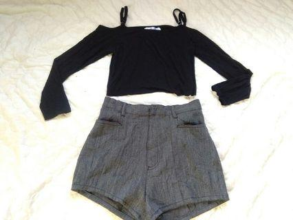 Get This Look! Cropped Cold Shoulder Top and Gray Highwaisted Shorts