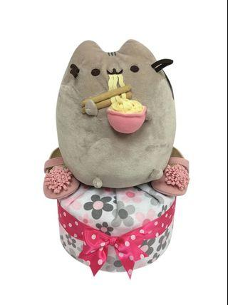 1 Tier Girl Pusheen Ramen Diaper Cake Baby Gift  🐱🍲