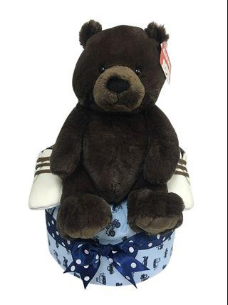 1 Tier Brown Teddy Bear Baby Boy Gift Hamper  🐻