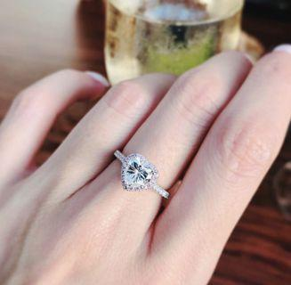1.5 Carat heat shaped Pave solitaire ring