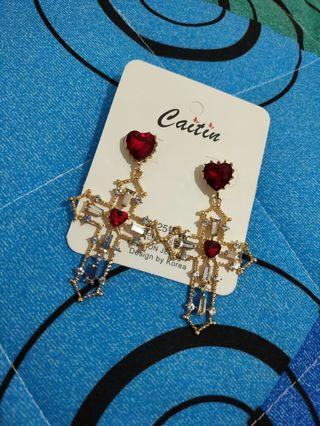 🚚 全新 現貨 大耳環 十字架 氣質 貴氣 紅色 愛心 金框 銀鑽 女生 可愛 漂亮 夢幻 穿洞 禮物 垂墬 耳環