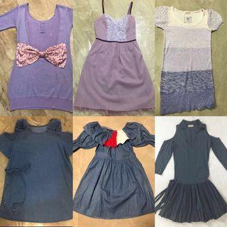 💜粉紫💙藍色連身裙 pastel purple & blue one piece Dresses ( $80 up 起 )Navy denim bow