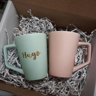 Personalised Ceramic Mug Pastel Colour Cup Cups Mugs Customised Customisable Embossed Calligraphy personalised gift Gift ideas corporate gift Birthday present wedding Gift couple anniversary gift gift for boyfriend girlfriend Houswarming farewell gift