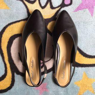 Black Backstrap Flat Shoes
