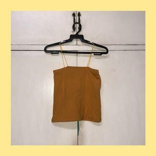 mustard yellow string cropped top