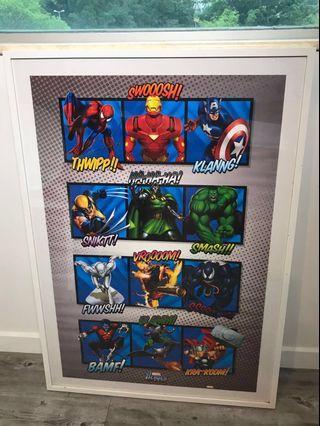 MARVEL Heroes poster + Poster frame (海報 + 畫架)🇺🇸💬