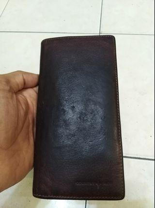 Country hide long wallet all leather