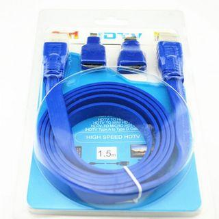 3 in 1 HDTV HDMI Cable 1.5m Flat Cable Blue Color