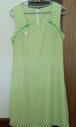 BN Chiffon lime green checkered dress