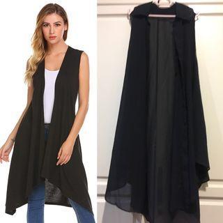 Black Flowy Sleeveless Cardigan