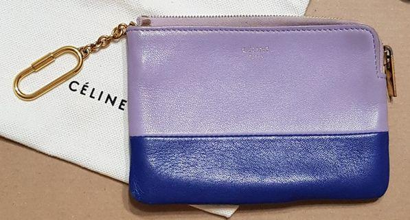 (Price Reduced!) Celine Bicolour Calfskin Leather Coin Case with Key Ring