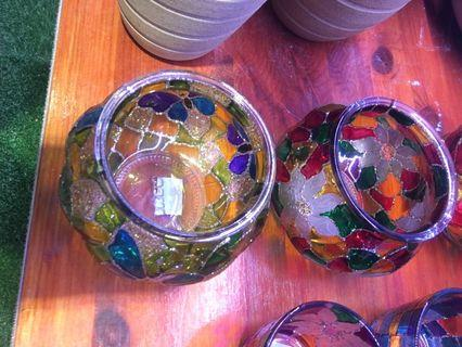Cups coloured with handmade painting