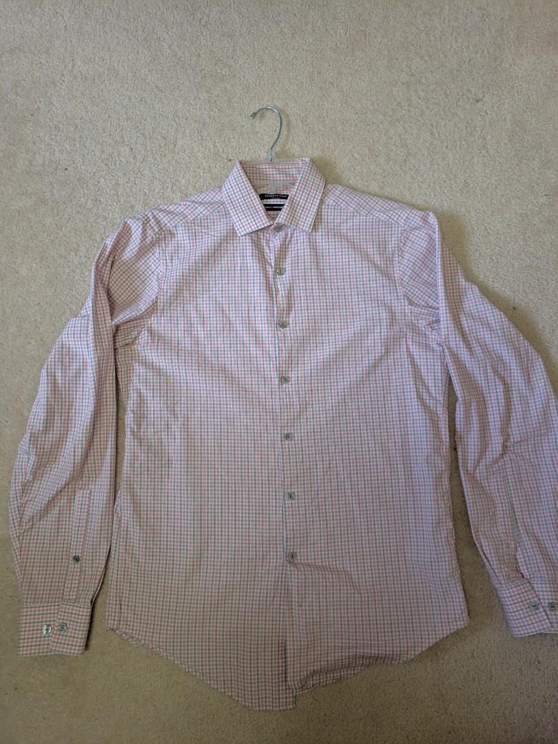 15 34/35 Kenneth Cole Slim Fit Patterned Dress Shirt