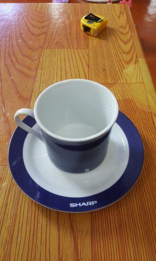 Sharp 茶杯碟一套 (共2杯,2碟)
