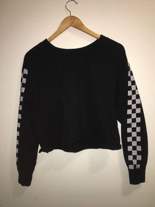 Black Cropped Sweater-Racetrack arms