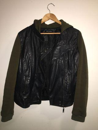 Leather Jacket with green sleeves and hood