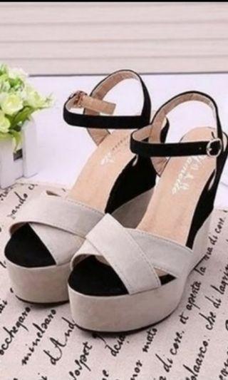 e85089a4b62 Beige and black wedges heels