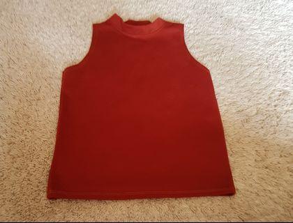Sleeveless terracotta brick red/brown mock neck top