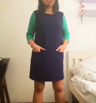 Office dress navy blue/green