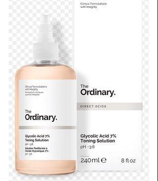 The Ordinary Glycolic Acid 7% Toning Solution 240ml - Improves Skin Radiance
