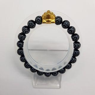 999 Pure Gold Three-Legged Money Toad Charm with Black Agate (Coin) Beads Bracelet