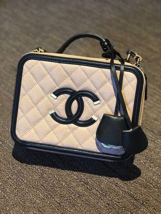 Chanel Vanity Case Filigree #27 Beige Black