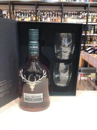 送杯 行貨 15年 Dalmore 15 Year Old Single Malt Scotch Whisky Highland Scotland 威士忌 whiskey 酒杯 套裝