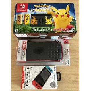 Brand new Nintendo Switch with Pikachu Games Card and Poke Ball (include pouch and screen)