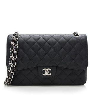 Chanel Caviar Leather Classic Jumbo Double Flap Bag Hardware  Silver-tone