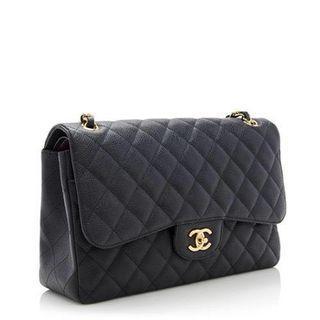 Chanel Caviar Leather Classic Jumbo Double Flap Bag  Gold-tone Hardware