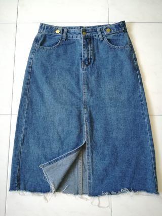 Denim Over Knee High-waist Skirt